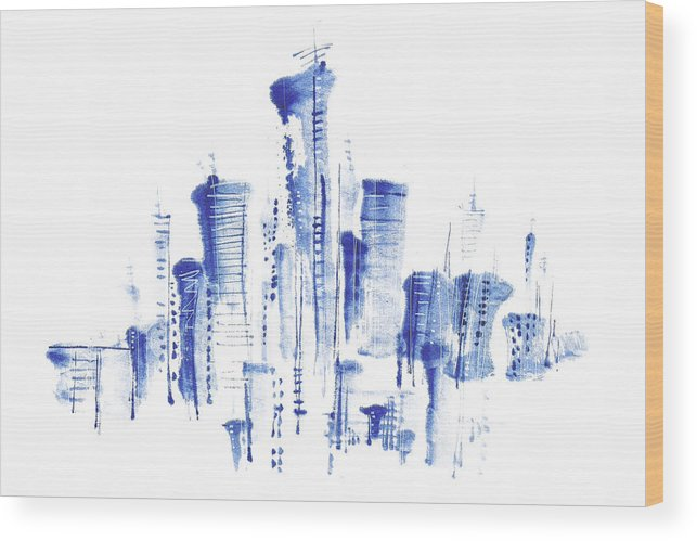 White Background Wood Print featuring the digital art Water-and-ink Cityscape by Bji/blue Jean Images