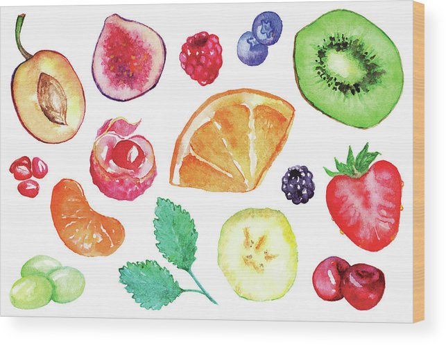 Cherry Wood Print featuring the digital art Watercolor Exotic Fruit Berry Slice Set by Silmairel