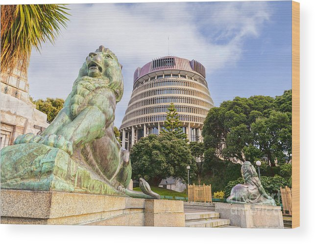 Wellington Wood Print featuring the photograph Wellington The Beehive Parliament Buildings New Zealand by Colin and Linda McKie
