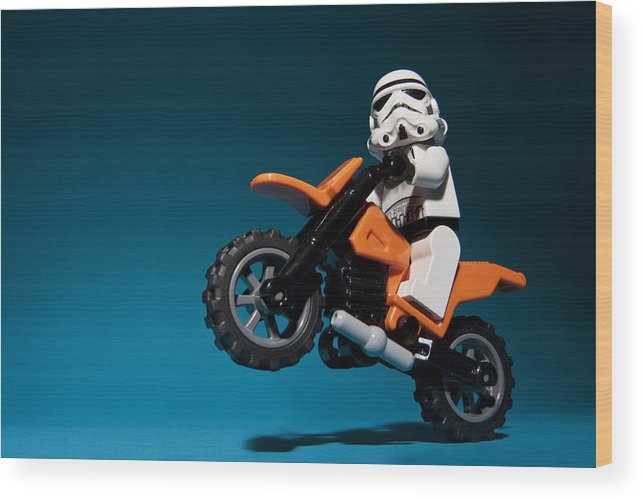 Lego Wood Print featuring the photograph Wheelie by Samuel Whitton
