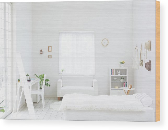 Domestic Room Wood Print featuring the photograph White Bedroom by Bloom Image