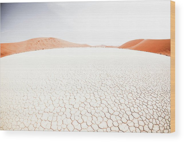 Tranquility Wood Print featuring the photograph White Clay Pan And Dunes by Taken By Chrbhm