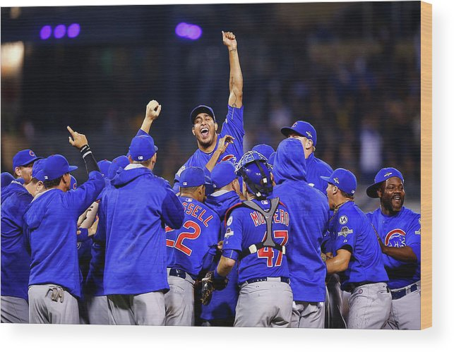 Playoffs Wood Print featuring the photograph Wild Card Game - Chicago Cubs V by Jared Wickerham