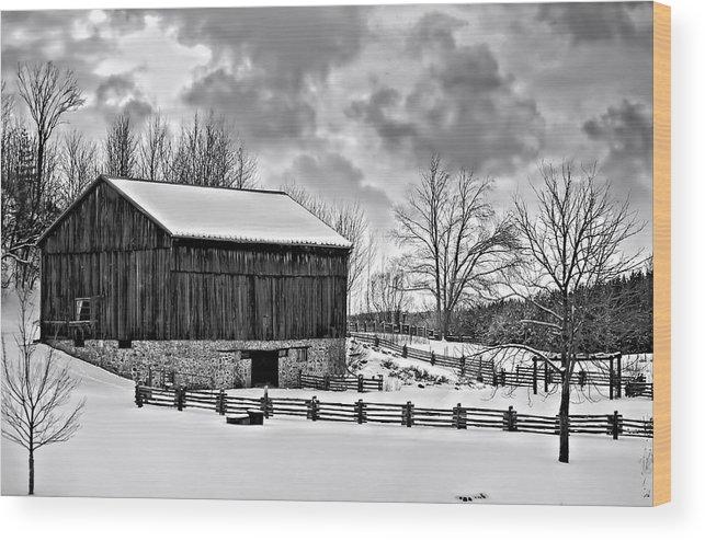 Barn Wood Print featuring the photograph Winter Barn monochrome by Steve Harrington