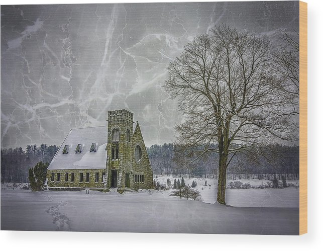 Winter Wood Print featuring the photograph Winter on the Old Stone Church by Bob Bernier