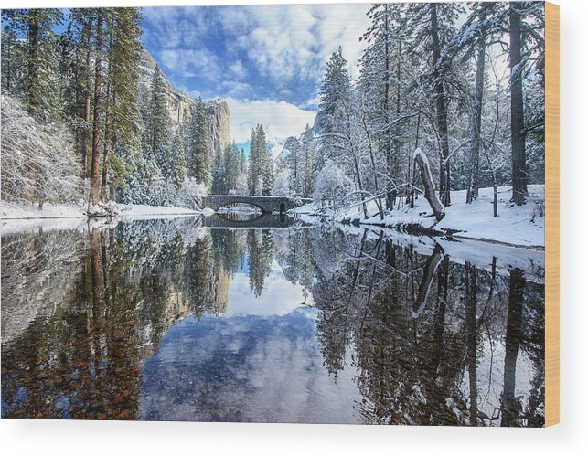Scenics Wood Print featuring the photograph Winter Reflection At Yosemite by Piriya Photography