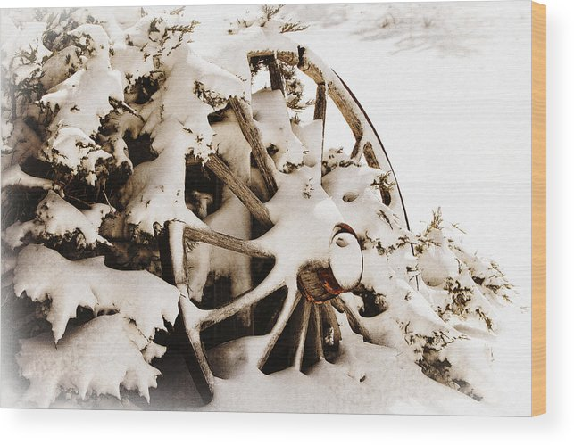 Lincoln Rogers Wood Print featuring the photograph Winter Wagon Wheel by Lincoln Rogers