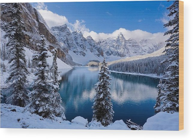 Winter Wood Print featuring the painting Winter wonder land by Kenneth LePoidevin