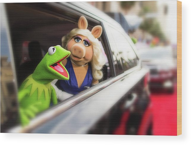 Horizontal Wood Print featuring the photograph World Premiere Of Disneys Muppets Most by Christopher Polk