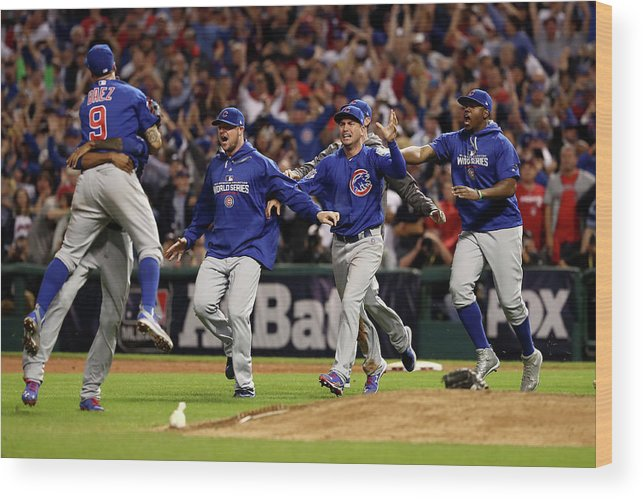 American League Baseball Wood Print featuring the photograph World Series - Chicago Cubs V Cleveland by Elsa