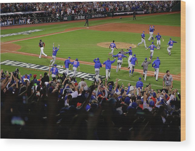 American League Baseball Wood Print featuring the photograph World Series - Chicago Cubs V Cleveland by Jamie Squire