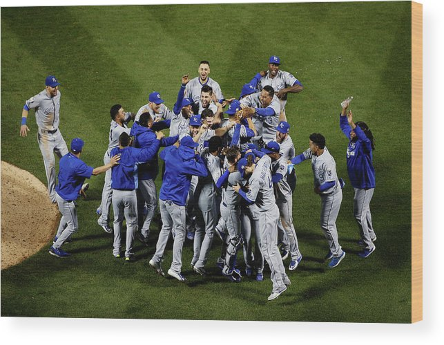 American League Baseball Wood Print featuring the photograph World Series - Kansas City Royals V New by Tim Bradbury