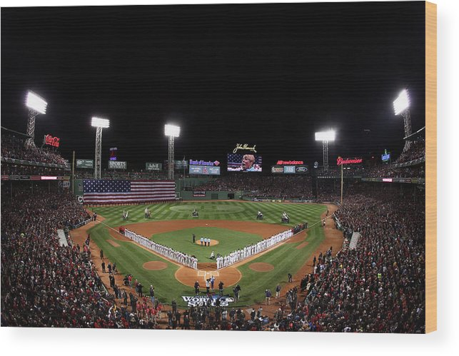 American League Baseball Wood Print featuring the photograph World Series - St Louis Cardinals V by Alex Trautwig
