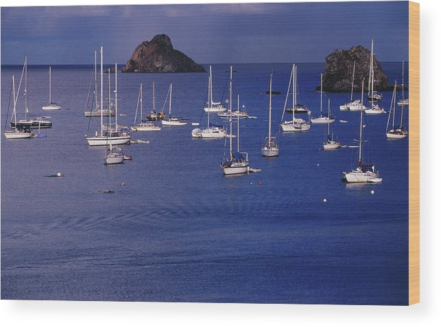 Sailboat Wood Print featuring the photograph Yachts Moored On The Caribbean Sea Near by Richard I'anson