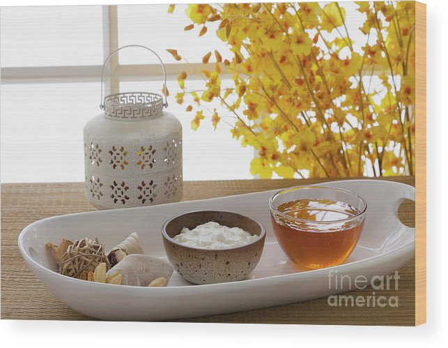 Spa Wood Print featuring the photograph Yogurt And Honey On A Tray In A Spa by Juan Silva