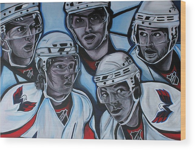 Washington Capitals Wood Print featuring the painting The Capitals by Kate Fortin