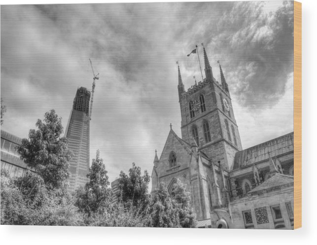 Shard Wood Print featuring the photograph New and Old by Chris Day