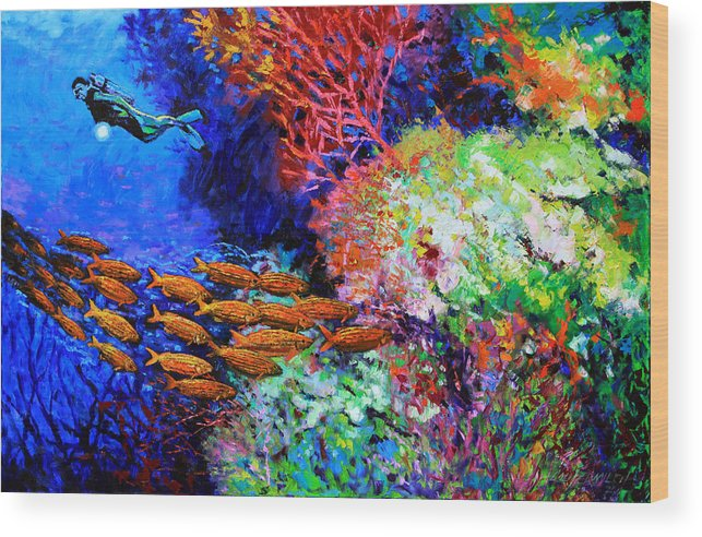 Scuba Diver Wood Print featuring the painting A Flash of Life and Color by John Lautermilch