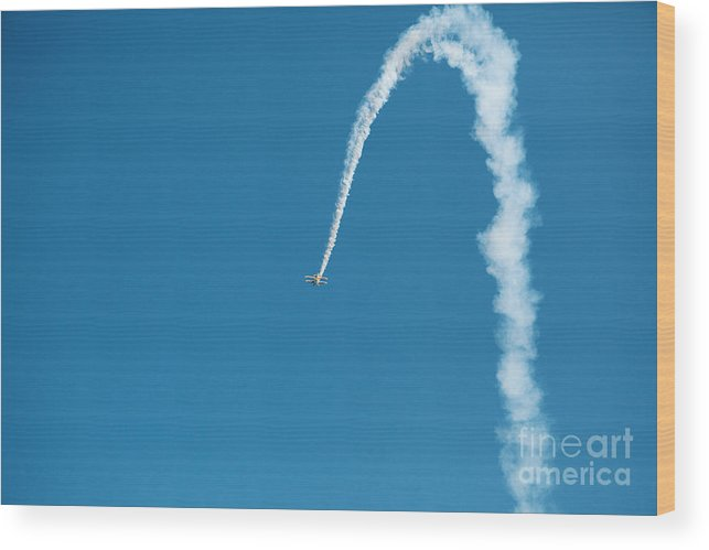 Airplane Wood Print featuring the photograph Aerobatic Biplane Downline by Kim Fearheiley