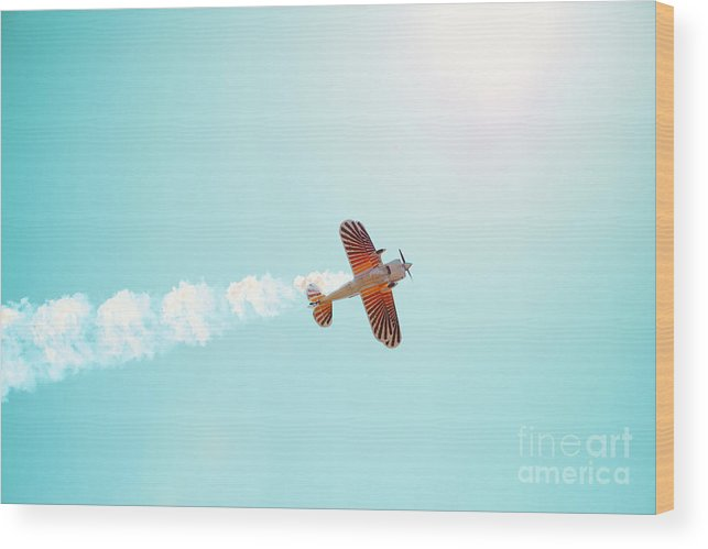 Airplane Wood Print featuring the photograph Aerobatic Biplane Inverted by Kim Fearheiley
