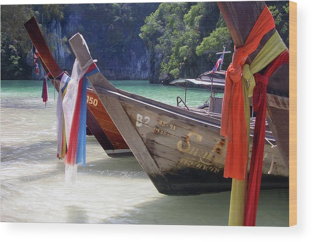 Thailand Wood Print featuring the photograph Andaman Sea Water Taxi by John Banegas