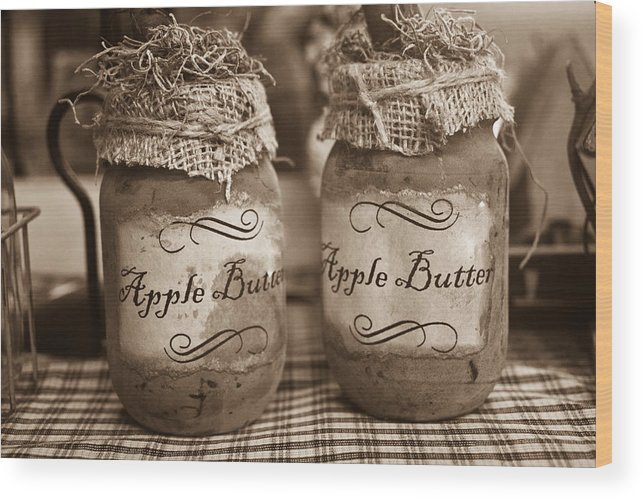 Apple Wood Print featuring the photograph Apple Butter in Sepia by Douglas Barnett