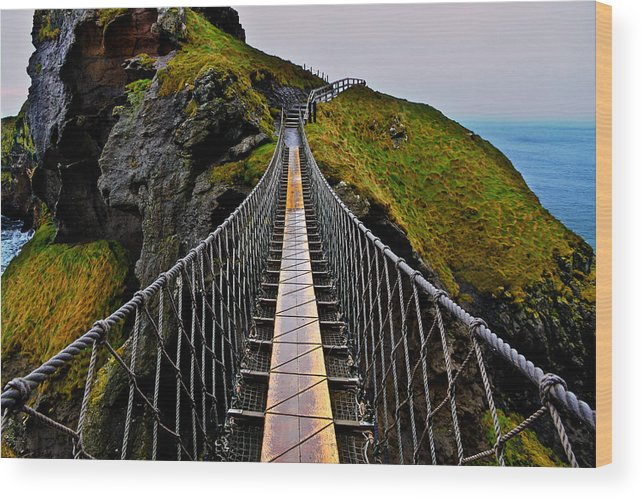 Rope Bridge Wood Print featuring the photograph Carrick-a-Rede Rope Bridge by Justin Albrecht