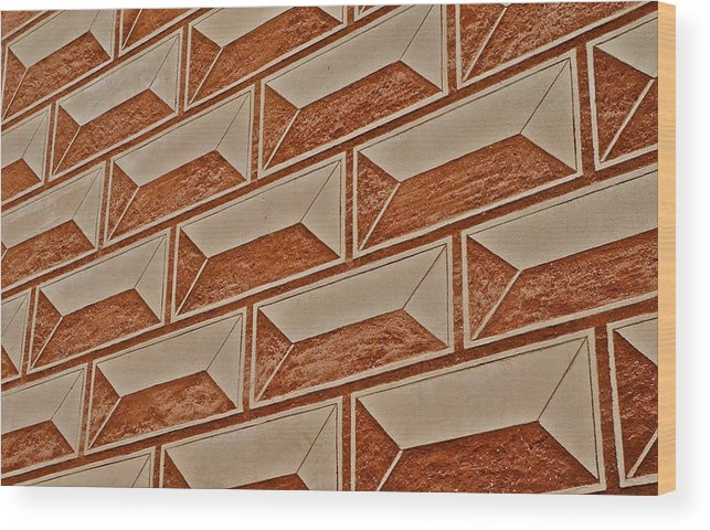 Cement Block Wall Design Wood Print featuring the photograph Cement Block Wall Design by Kirsten Giving