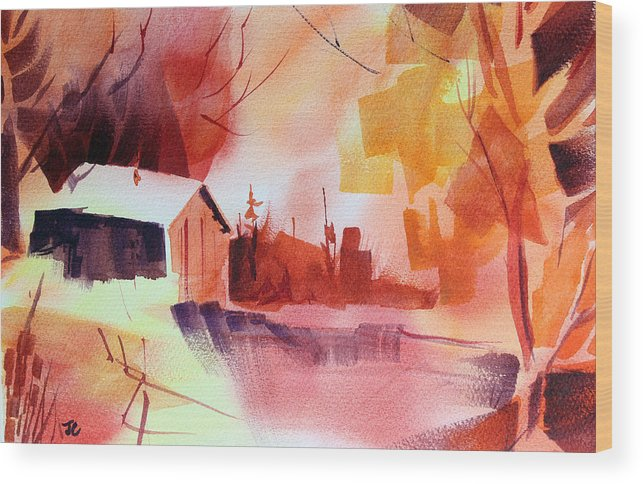 Abstract Landscape Wood Print featuring the painting Dagmar's Farm No. 1 by Josh Chilton