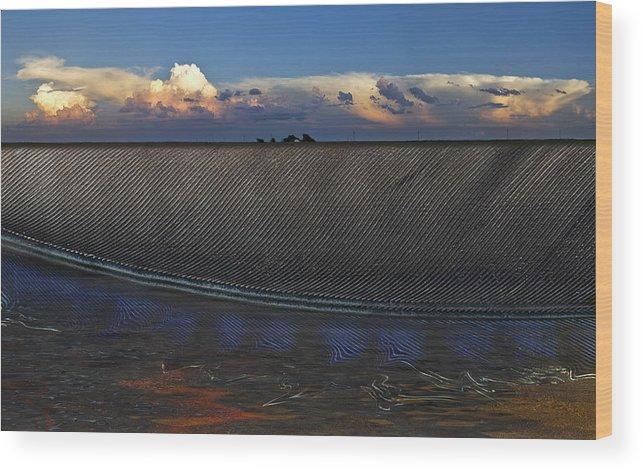 Clouds Wood Print featuring the photograph Flatland Farm by Robert Hudnall