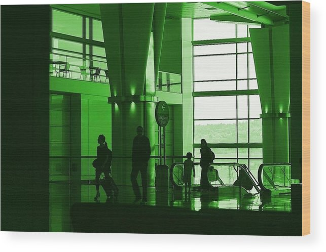 Green Wood Print featuring the photograph Green Airport by Ron Morales