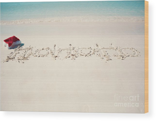 Ho Ho Ho Wood Print featuring the photograph Ho Ho Ho on the Beach by Kim Fearheiley