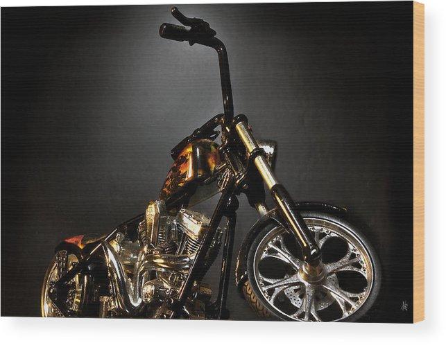 Wood Print featuring the photograph Jesse James Bike 2 Detroit MI by Nicholas Grunas