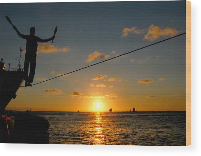 Key West Wood Print featuring the photograph Key West Sunset Performance by John Banegas