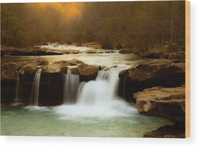 Landscape Wood Print featuring the photograph Majestic Waterfalls by Iris Greenwell
