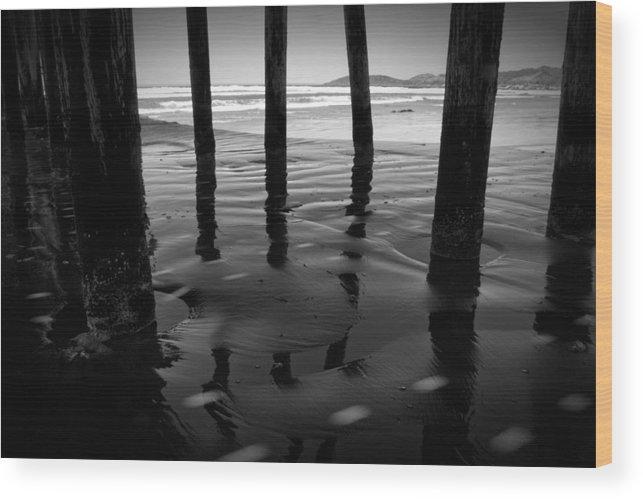 Pier Wood Print featuring the photograph Peir Legs by Matt Trimble