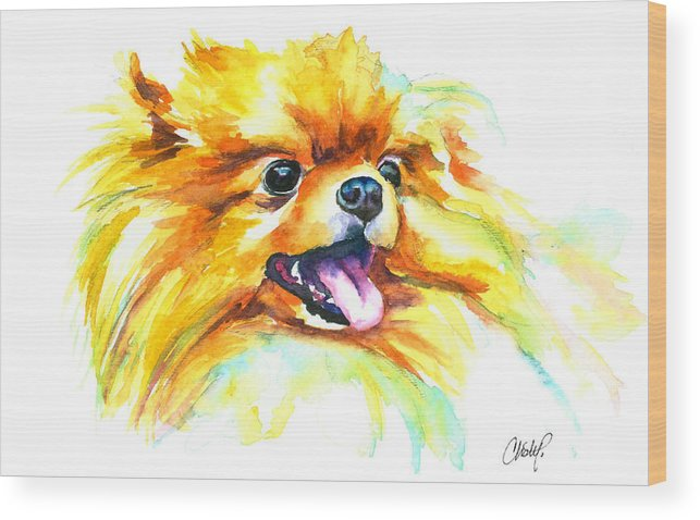 Pom Wood Print featuring the painting Pomeranian Fire by Christy Freeman Stark