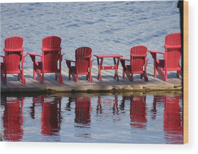 Muskoka Wood Print featuring the photograph Red Muskoka Chairs by Dr Carolyn Reinhart