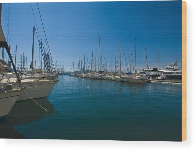 Ships Wood Print featuring the photograph Ships in Their Slips in Toulon by Richard Henne