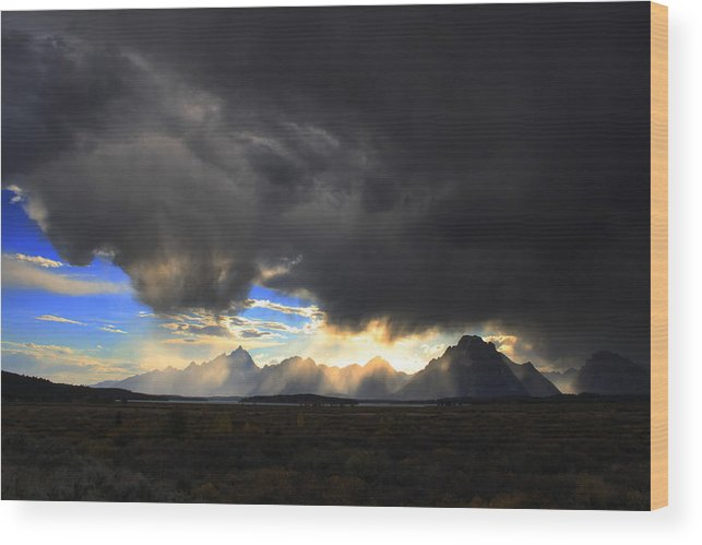 Sky Wood Print featuring the photograph Storm Over the Tetons by William Joseph