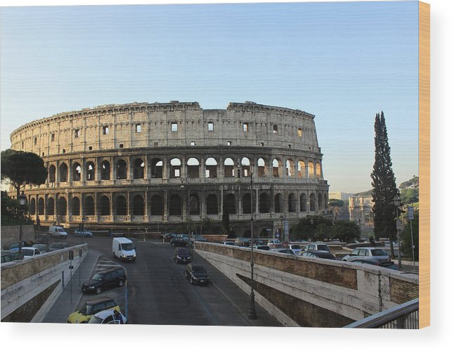 Rome Wood Print featuring the photograph The Colosseum in Rome by Munir Alawi