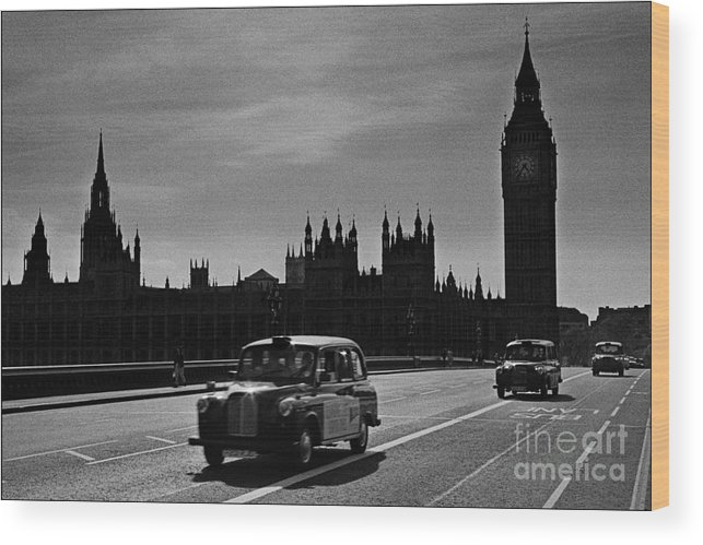 London Cabs Wood Print featuring the photograph Three Cabs and Westminster by Aldo Cervato