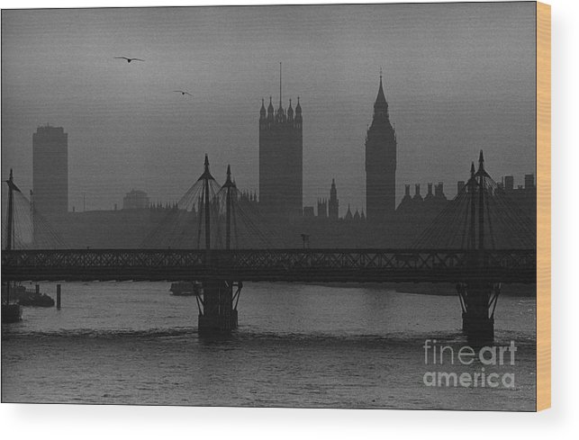 Foggy London Wood Print featuring the painting Westminster on a Foggy Day by Aldo Cervato