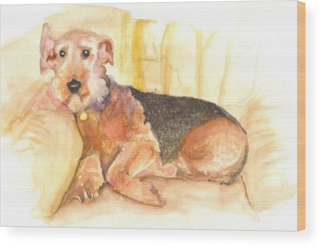 Dogs Wood Print featuring the painting Pet Portrait by Rebecca Marona