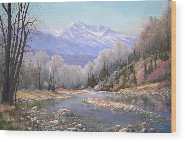 Landscape Wood Print featuring the painting 060521-3624 Spring In The Rockies by Kenneth Shanika