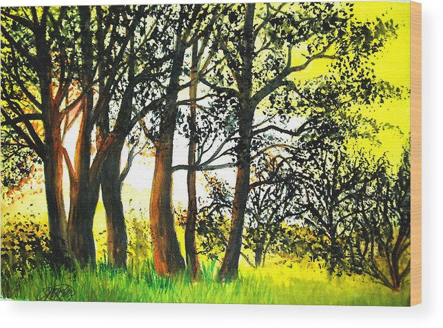 Landscape Wood Print featuring the painting Arbutus by Vi Mosley