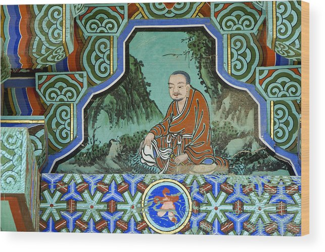 Buddha Wood Print featuring the photograph Buddhist Temple Art by Michele Burgess