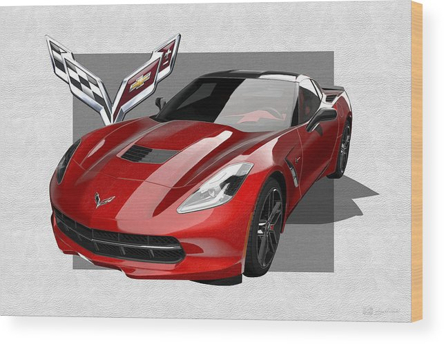 �chevrolet Corvette� By Serge Averbukh Wood Print featuring the photograph Chevrolet Corvette C 7 Stingray with 3 D Badge by Serge Averbukh