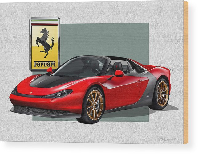 �ferrari� Collection By Serge Averbukh Wood Print featuring the photograph Ferrari Sergio with 3D Badge by Serge Averbukh