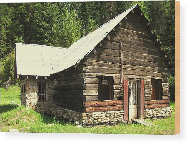 Cabin Wood Print featuring the painting Old Miner Cabin by Kenneth LePoidevin